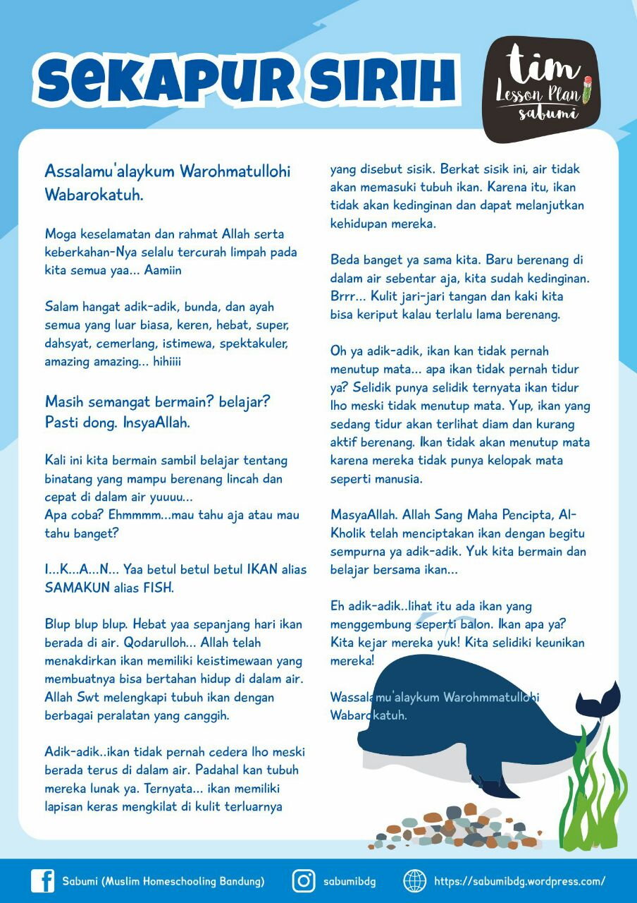 Lesson Plan] Ikan – Fish – Samakun – Sabumi